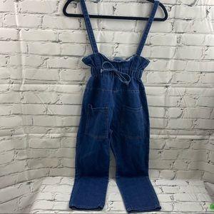 Girls paper bag waist overall like jeans